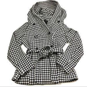 Jou Jou Houndstooth Hooded Pea Coat